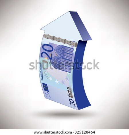 A detailed drawing of a 20 euros banknote made into an upward arrow  - stock photo