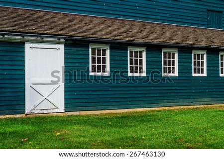 A detailed exterior of an old barn in Upper Freehold New Jersey. - stock photo