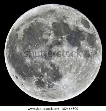 A detailed image of a full Moon taken with an astronomical telescope - stock photo