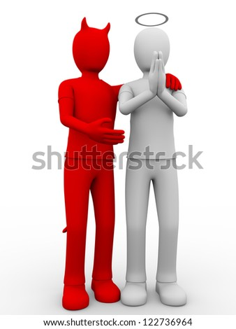 A devil and an angel. Concept of extreme postures and differences - stock photo