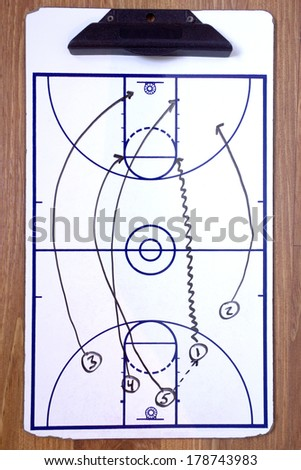 A diagram of a basketball fast break on a coach's clipboard.