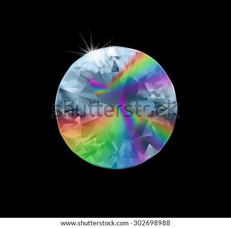 A diamond dispersing white light - stock photo