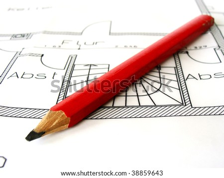 a different kind of tools - pencil lying on the project - stock photo