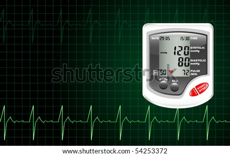 A digital blood pressure monitor against a computer screen showing heartbeat.
