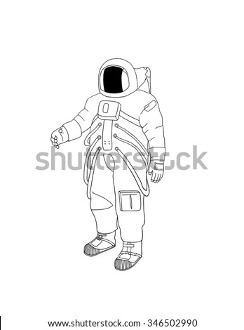 A digital drawing of an astronaut in uniform against a plain white background. - stock photo