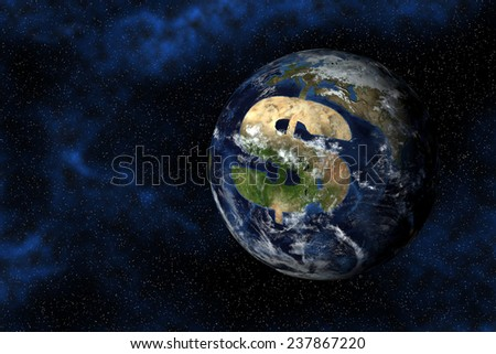 A digital model of the earth with a dollar sign continent. Elements provided courtesy NASA. - stock photo