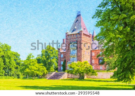 A digital oil painting of the historic Trollenas castle situated near to the swedish town of Ekeby. - stock photo