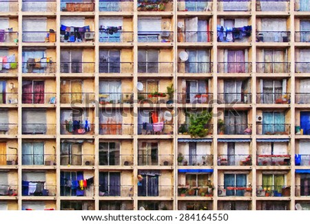 A digital painting of a block of flats in the french city of Marseilles. - stock photo