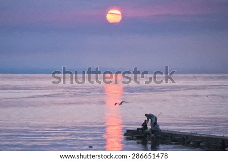 A digital painting of a young family packing up their fishing gear amidst a spectacular sunset at Torekov in Sweden. - stock photo