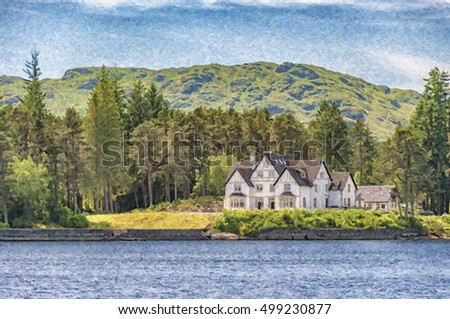 A digital painting of houses on the banks of Loch Katrine in Scotland.