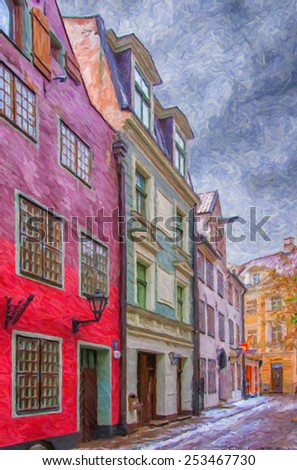 A digital painting of one of the many quaint little narrow streets in the old town region of Riga. - stock photo