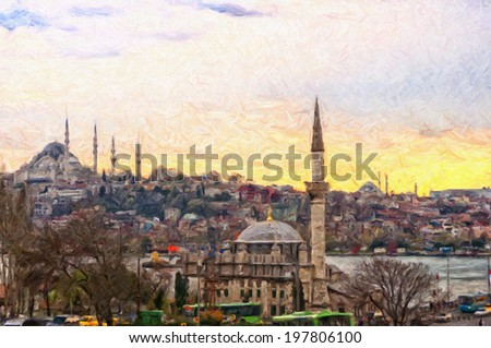 A digital painting of the Istanbul skyline in Turkey. - stock photo