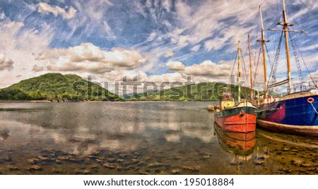 A digital painting of two boats sitting berthed on the scenic location of Loch Fyne at the Scottish town of Inverary. - stock photo