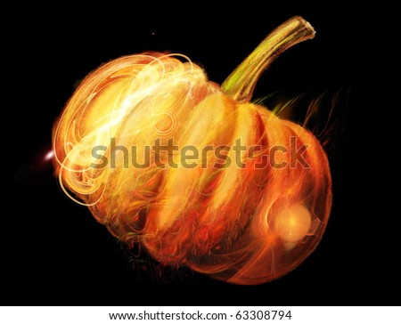 A digital picture is a luminous pumpkin on a black background - stock photo