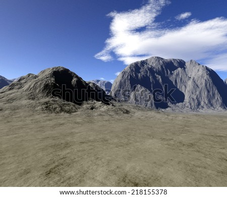 A Digital render of a dry landscape. - stock photo