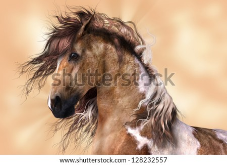 A digital render of a horse, a brown and white paint, with golden brown background.