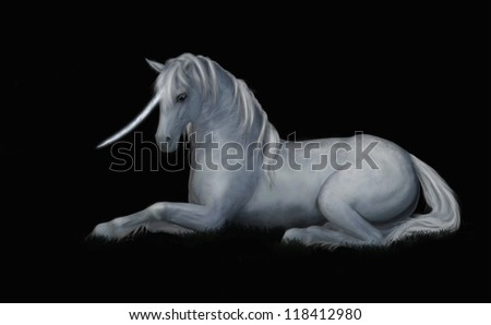 A digital render of a white unicorn laying down in the grass.  Black background for contrast.