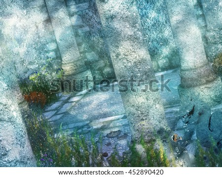 A digital render of an underwater fantasy scene with columns, sea plants and fish. - stock photo