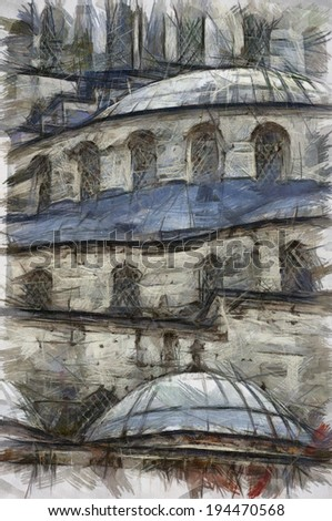 A digital sketch of a close up view of the blue mosque in the turkish city of Istanbul - stock photo