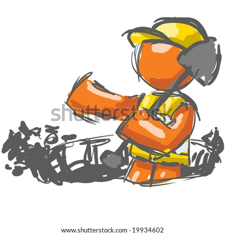 A digital sketch painting of an orange man with a shovel digging. - stock photo
