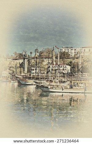 A digitally constructed antique style painting of Kaleici harbor Antalya Turkey - stock photo