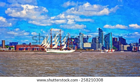 A digitally constructed painting of a tall ship on the river mersey - stock photo