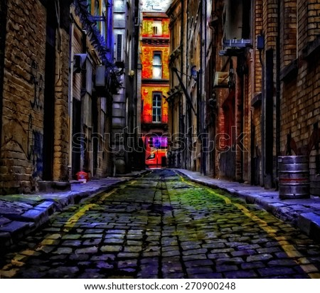 A digitally constructed painting of cobbled back streets of inner city Liverpool - stock photo