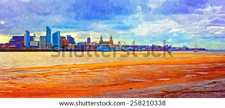 A digitally constructed painting of Liverpool waterfront - stock photo