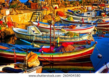 A digitally constructed painting of small fishing boats in harbour - stock photo