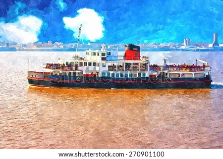 A digitally constructed painting of the Mersey Ferry in Liverpool UK - stock photo