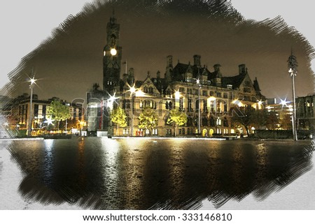 A digitally constructed watercolour of  Bradford Town Hall, Yorkshire - stock photo