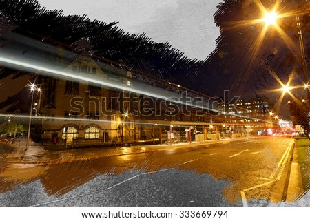 A digitally constructed watercolour of the bus station next to the Bradford Town Hall, West Yorkshire, UK. - stock photo