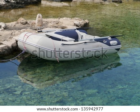 A dinghy in one of the bays in Croatia