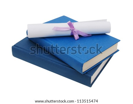 A diploma over blue books. Isolated on white. - stock photo