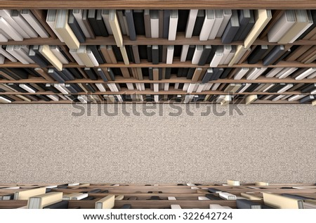 A direct top view of a row of a library bookshelf in a carpeted aisle - stock photo