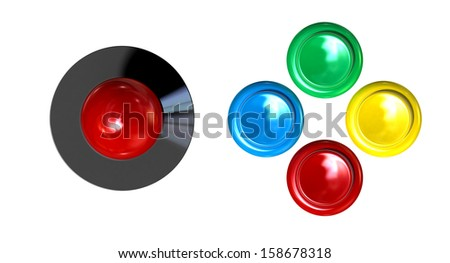 A direct top view of a vintage computer game controller with a joystick and four various colored buttons on an isolated white background   - stock photo