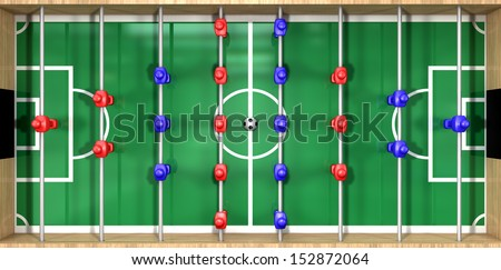 A direct top view of a wooden foosball table showing a blue and red team on a green marked pitch on an isolated white background - stock photo