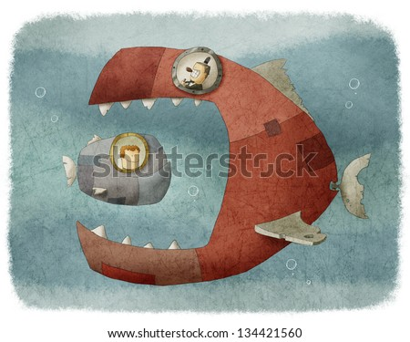 a dirigible big fish eating small one - stock photo