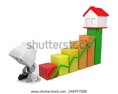 A disappointed people, housing price rise. 3d image. Isolated white background - stock photo