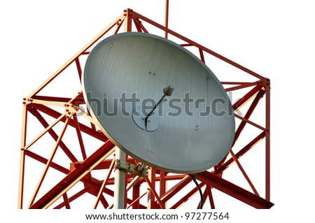 A disc Mobile phone communication antenna tower isolated on white - stock photo