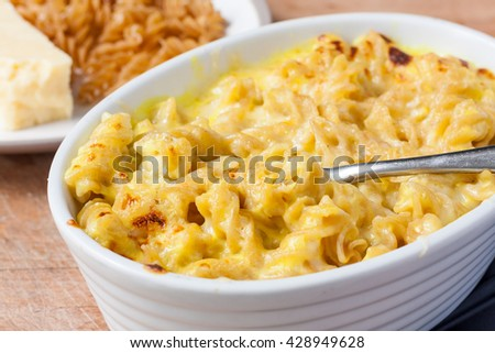 A dish of macaroni cheese made using wholemeal fusilli pasta