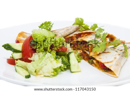 a dish of Mexican cuisine on white background