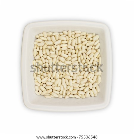 A dish with white beans isolated on white (includes clipping path)