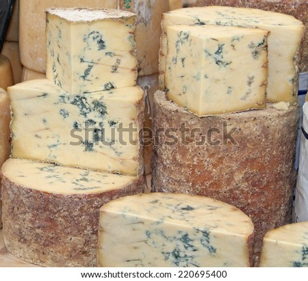 A Display of a Classic Blue Vein Cheese. - stock photo