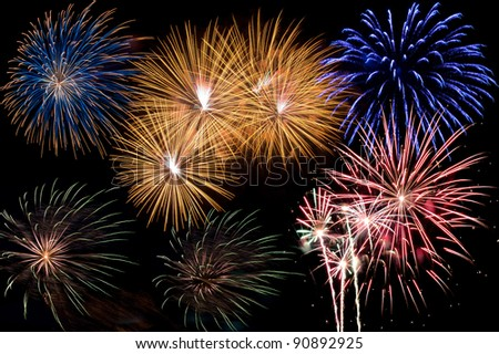 a display of colorful firework - stock photo