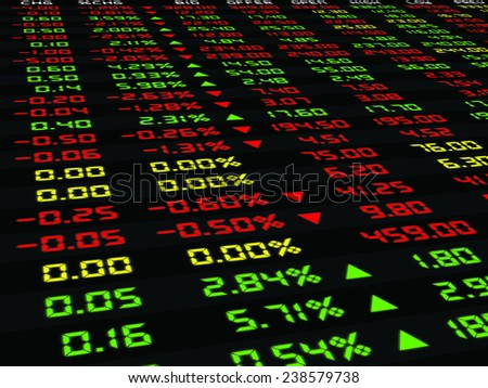 a display of daily stock market price and quotation - stock photo
