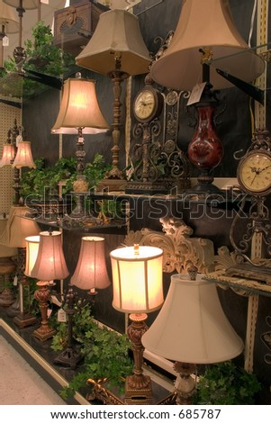 A display of lights for sale in this store - stock photo