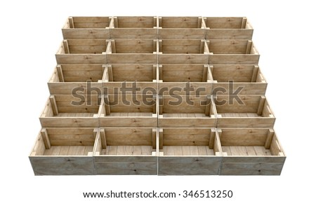 A display of stacked wooden crates on an isolated white studio background - stock photo