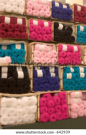 A display of yarn for sale in this store - stock photo