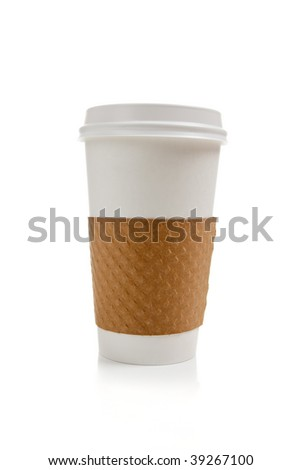 A disposable coffee cup on a white background - stock photo